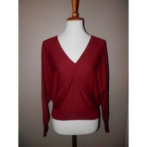 JOIE Sweater Medium Burgundy Lightweight Knit